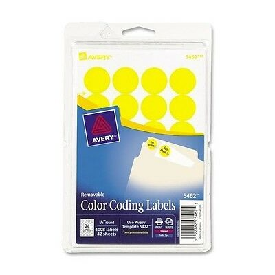 """Avery 05462 COLOR CODING LABELS * 3/4"""" Round * 1008 Labels * YELLOW"""