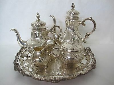 Gorgeous German .835 Sterling Silver 5 Piece Tea Set