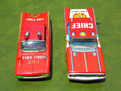 2  X  Vintage Tin Plate Ford Fire Chief Toy Cars