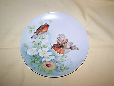 Beautiful Hand Painted & Artist Signed Plate with Robin Birds & Nest