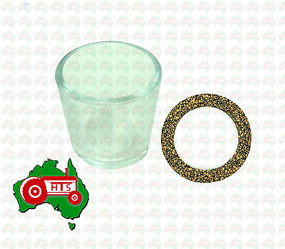 Tractor Glass Fuel Bowl 53mm w Gasket Suits David Brown Fuel Tap / Lift Pump