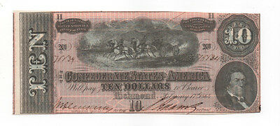 Pretty Civil War Confederate CSA T-68 $10 Note Obsolete Currency Horses  Cannon