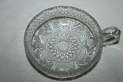 VINTAGE Beautiful  CUT GLASS CLEAR HANDLED NAPPY BOWL DISH