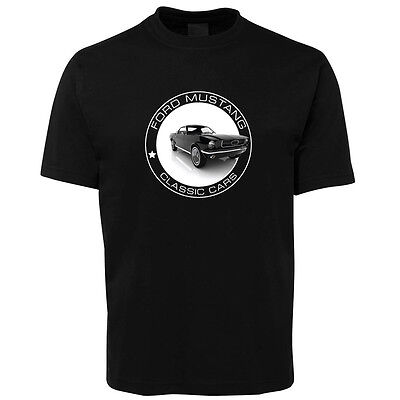 New Black Classic Ford Mustang T Shirt 100% Cotton Size S -5XL +7XL