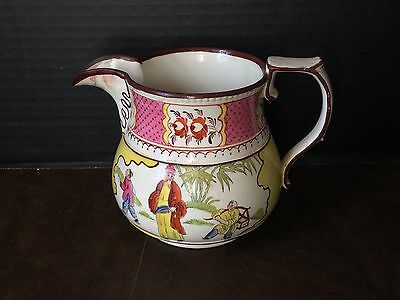 Superb Early Antique Hand Painted Creamware Pitcher Jug Asian Scene