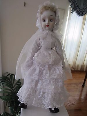 """Collectible Ceramic & Cloth Doll 18"""" Hand Painted Clothing & Accessories Blond"""