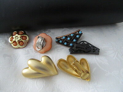 Vintage Bulk Lot Of  3  Pairs Of  High End Clip On Earrings