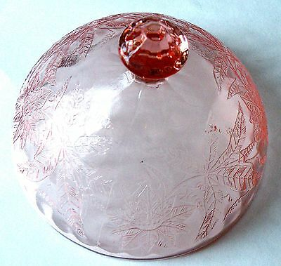 Depression Glass Poinsettia Floral Butter Dish Lid Cover Pink