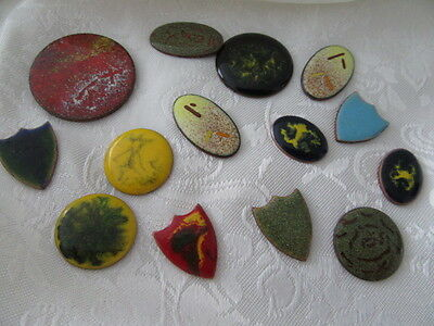 Vintage Bulk Lot Of  14 Pieces Of Enamel On Copper For Jewellery Making