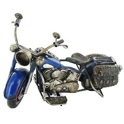 Blue Metal Motorcycle Figurine. Fine details,  Great accent Home Decor. GIFT