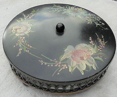 Vintage Tole Painted Toleware Covered Divided Candy Dish