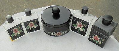 Vintage Tole Painted Toleware Vanity Set Powder Box and Bottles