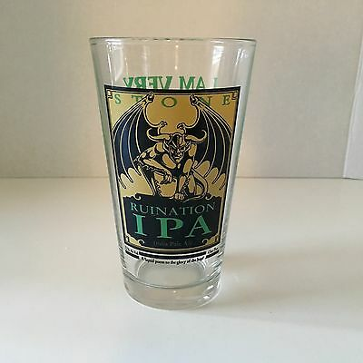 Stone Brewery Ruination Ipa Pint Beer Glass. Gargoyle. About Mint.