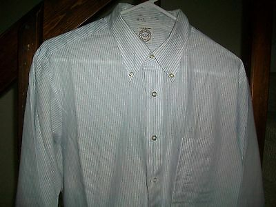 vtg usa made 60's ARROW cum laude shirt 16-33 DECTON tapered BLUE WHITE STRIPED