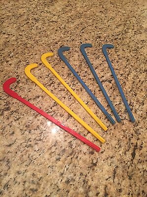 6 Vintage 1970's Post Cereal Blue Red Yellow Plastic Twirl -A- Kane's