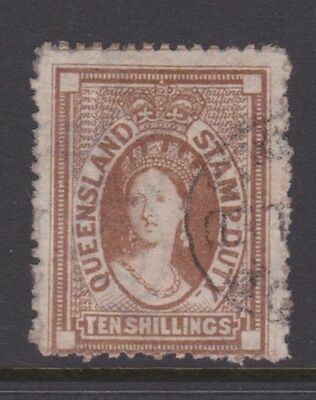 Queensland Rare 1871-72 10/- Brown Qv Stamp Duty Used Sg F 22 Cv $680 (Cm79)