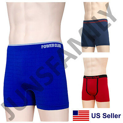 Lot of 6 or 12 Mens Power Club Seamless Compression Solid Boxer Briefs Underwear