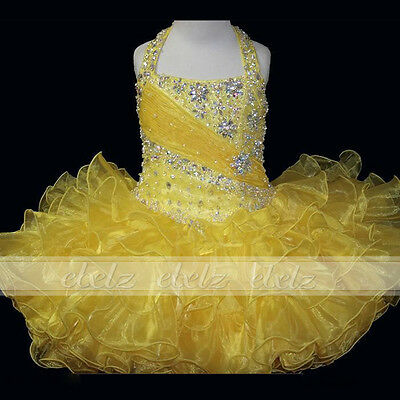 4 Baby/Little girls kids Cupcake Pageant Dress Party Ball Gown Formal MINI TUTU