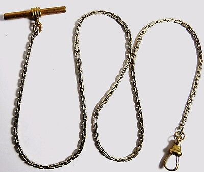 """Vintage Pocket Watch Gold Tone Fob Chain 18 1/4"""" Long T-Bar"""