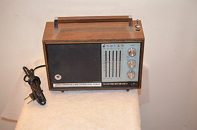 vintage North American 6 way system dual power radio wood cabinet mid century
