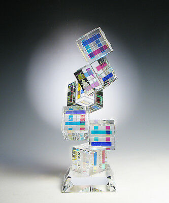 """NEW Dichroic Optic Crystal Glass Sculpture """"TANGO"""" made by Ray Lapsys"""