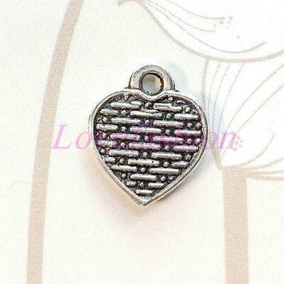 20pcs Tibetan Silver Double Side Heart Charms Pendants Jewelry DIY