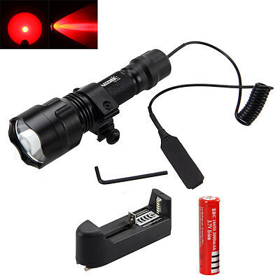 5000Lm Red LED Tactical Flashlight Torch Pressure Switch 25mm Mount Light Gun