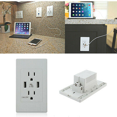 Dance Exercise Room Wall Socket USB Electric Power Switch Charger Receptacle