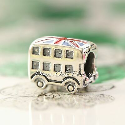 Authentic Pandora Sterling Silver London Bus, Blue & Red Charm 791049ER *RETIRED