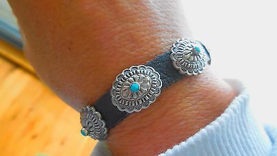 Vintage Native American  Leather Sterling, Silver and Turquoise Concho Bracelet