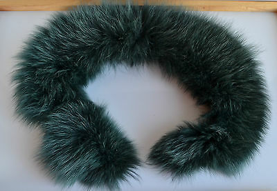 Dyed Green Real Silver Fox Fur Collar for craft, hood, coat, headband, etc