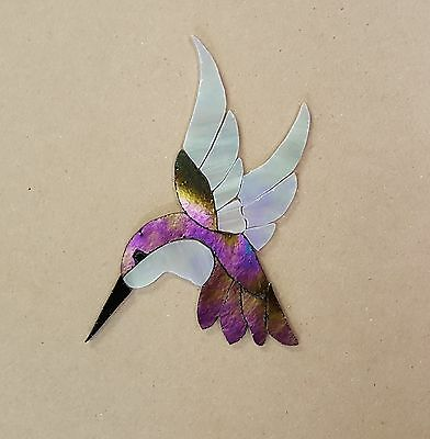 """PRECUT STAINED GLASS ART KIT FEMALE HUMMINGBIRD MOSAIC INLAY HANDCRAFTED 4.5x 4"""""""