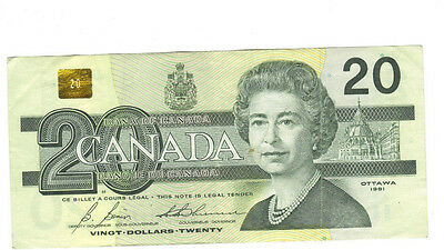 1991 $20 Canadian Banknote Bonin/Thiessen..BUY NOW!!