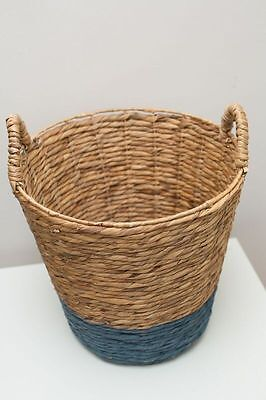 Gorgeous Cane Basket with Handles - Blue Base - Great Cond - Bargain! NORTH RYDE