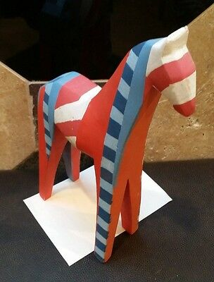 whimsical wooden painted Horse dala style