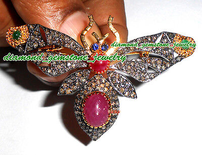 Butterfly 16.45cts ROSE CUT DIAMOND GEMSTONE ANTIQUE LOOK STERLING SILVER BROOCH