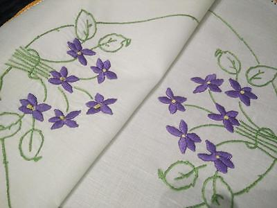 Sweet Posies of Purple Violets ~ Vintage Hand Embroidered Large Centrepiece/mat