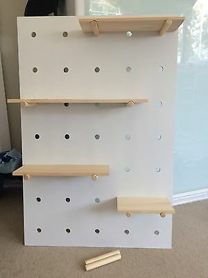 Kmart Pegboard With Wooden Shelves