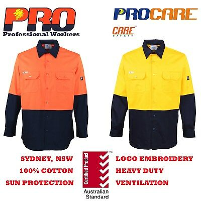 1x Hi Vis Work Shirt with vents cotton drill long sleeve SAFETY WORKWEAR Uniform