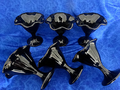 6 Vintage Black Glass Parfait, Sundae, Glasses These Are Beautiful All Matching