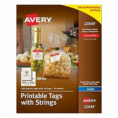Printable Tags With Strings White 1.5 X 1.5 Pack Of 200 22849