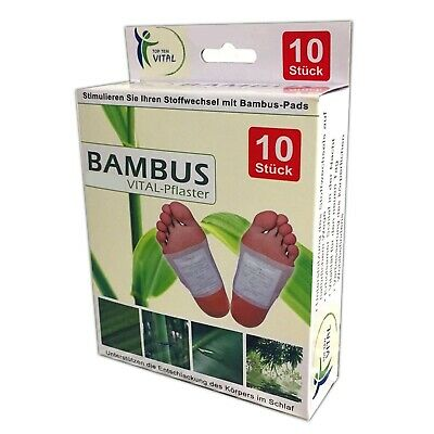 10x Detox Fusspflaster | Bambus Fußpads | Entgiftung Fuss Pflaster Vitalpflaster