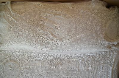 Antique French hand embroidered Normandy lace bed cover