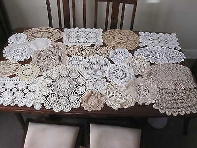 25 Vintage Hand Worked Crochet Lace Doilies ~ Craft ~ Sewing - Or To Use