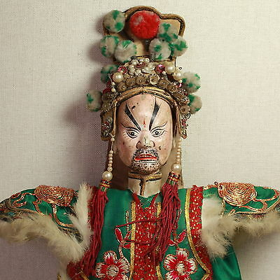 Old Antique Chinese Qing Dynasty Silk Embroidered Opera Doll Puppet/ Od009