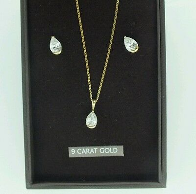 Vintage Beaverbrooks 9Ct Yellow Gold & Pear Cz Necklace & Stud Earring Set