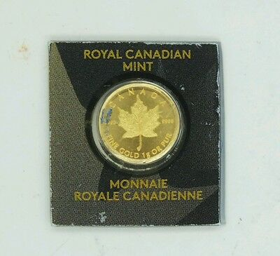 2015 1 Gram Canadian Maple 50 Cents .999 Fine Gold Bullion Investment Coin