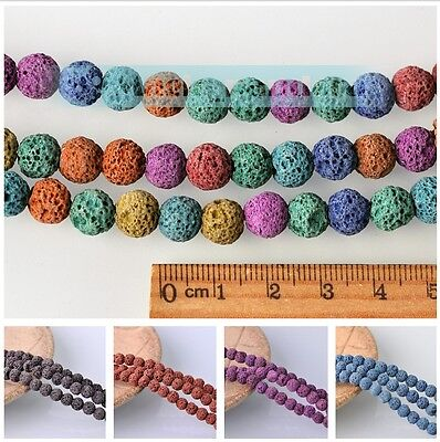 Wholesale 8mm Natural Volcanic Stone Loose Spacer Round Beads Jewellery Making