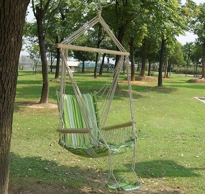 Hammock Swing Hanging Canvas Seat Outdoor Tree Cushion Chair Camping Armrest Air