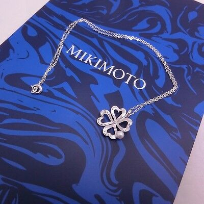 Mikimoto Akoya Pearl Silver Pendant Fortune 4-Leaf Clover Motif Authentic!